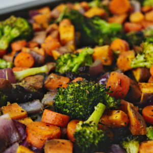Mixed Roasted Veggies + Raisins