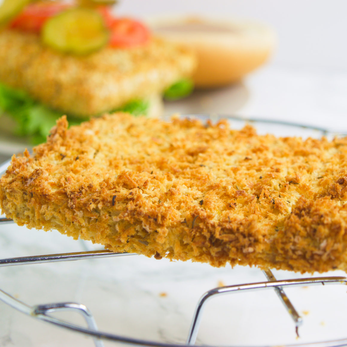Air fried tofu sandwich