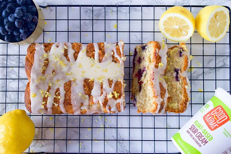 Vegan Blueberry Lemon Sour Cream Cake