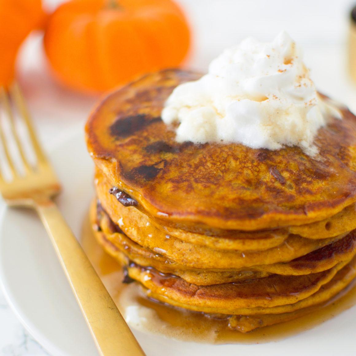 Pumpkin Spice Chocolate Chip Pancakes