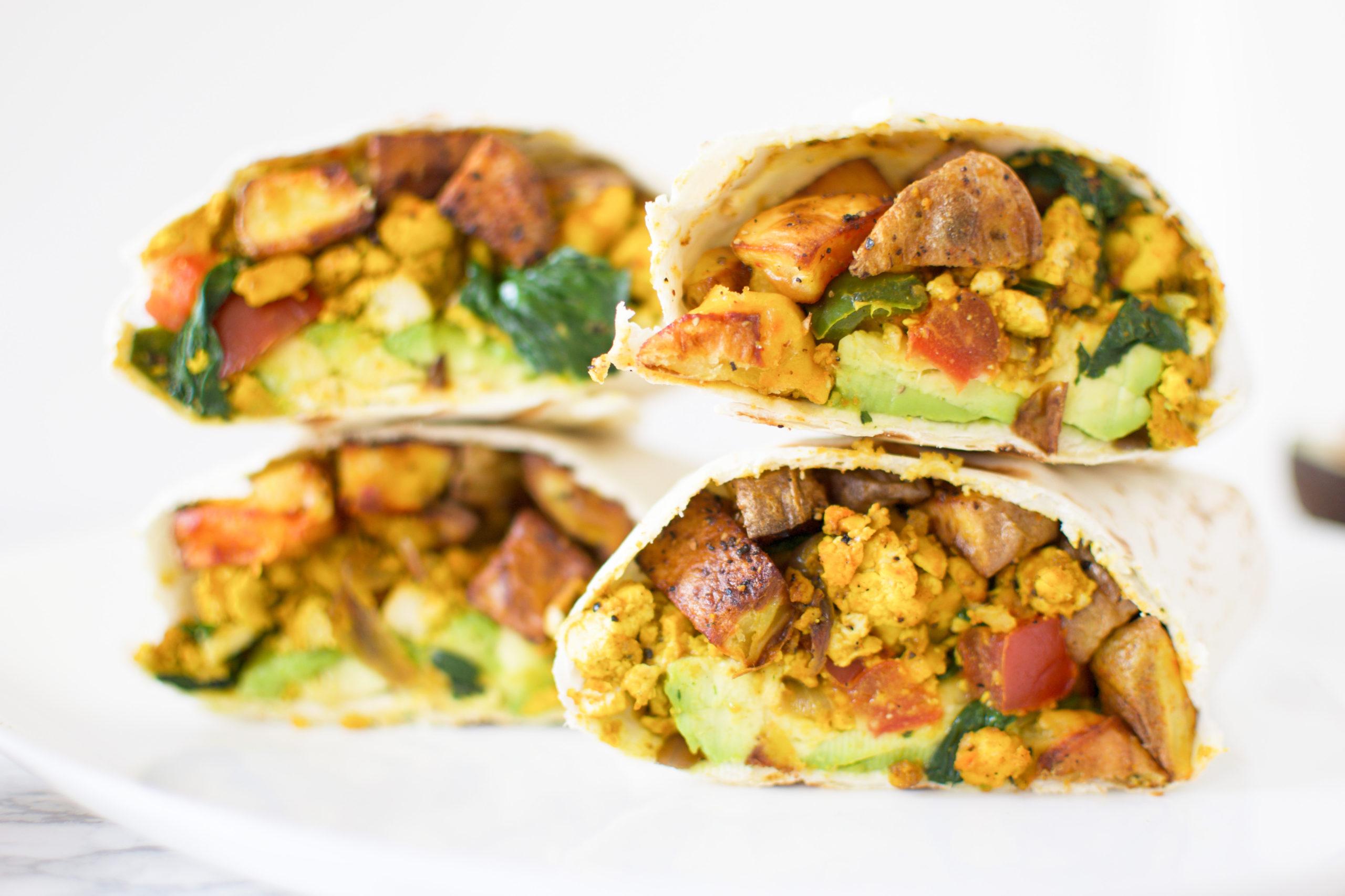 Scrambled Tofu + Potato Breakfast Wrap