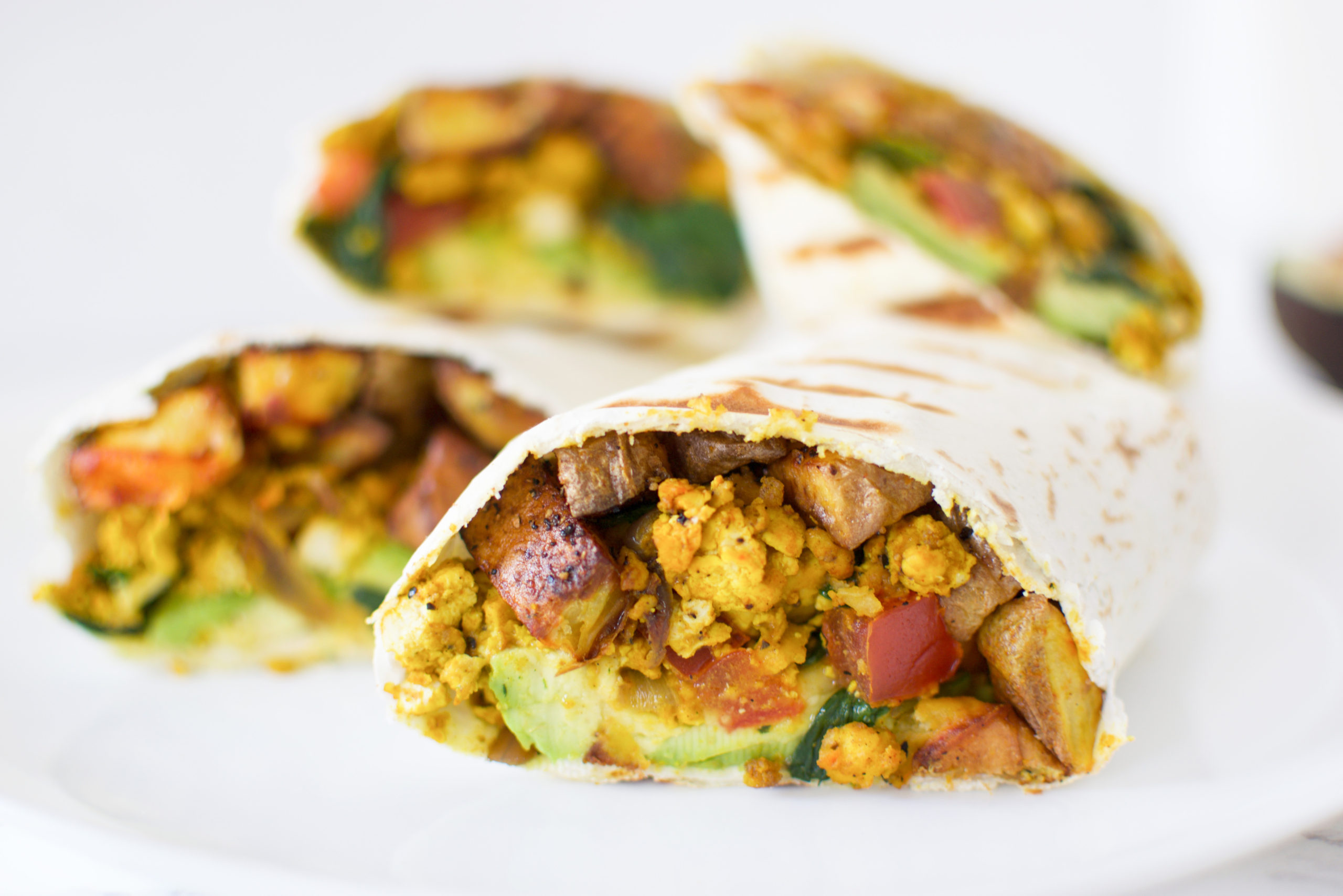 Scrambled Tofu + Potato Breakfast Wrap