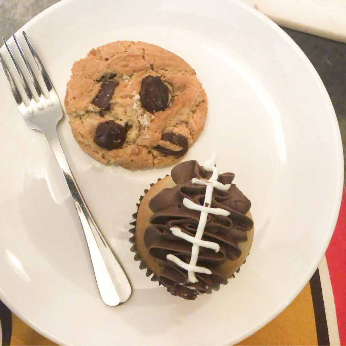 Chocolate Chip Cookie and Football Cupcake
