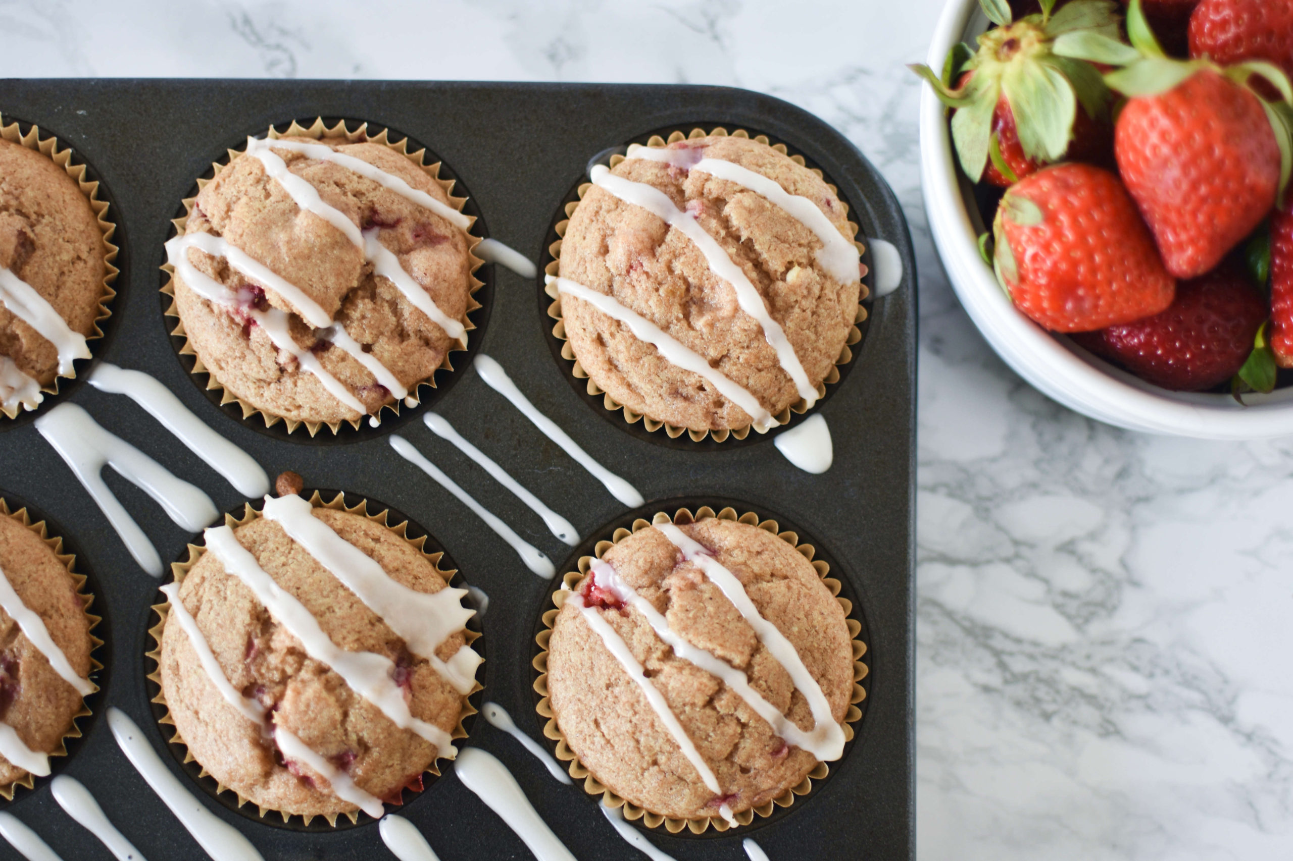 Whole Wheat Vegan Strawberry Muffins