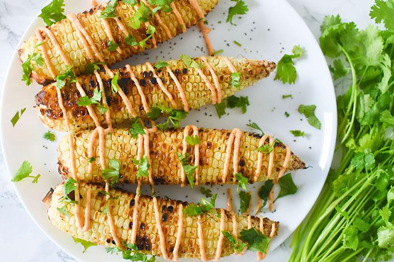 Vegan Spicy Mayo Grilled Corn