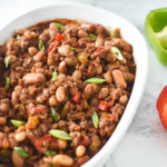 Baked Beans in white dish
