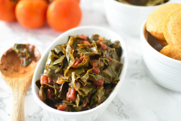 Southern Collard Greens in white dish