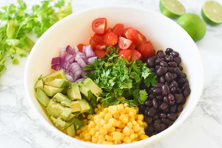 Avocado Black Bean Corn Salad in large bowl