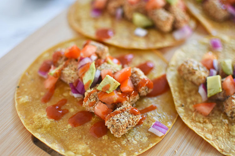 Crispy Air Fried Vegan Chicken Tacos