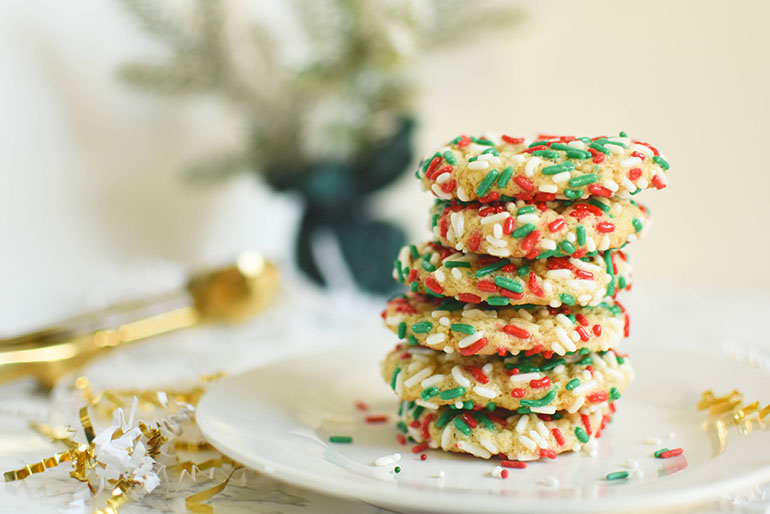 Vegan Christmas Sprinkle Sugar Cookies