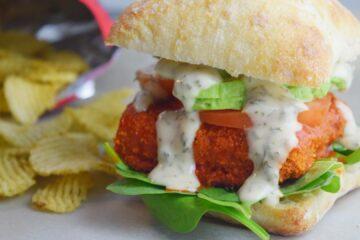 Buffalo Tempeh Sandwich